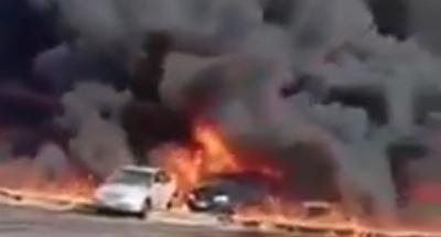 بالفيديو .. حريق هائل داخل موقف العاشر بمدينة السلام