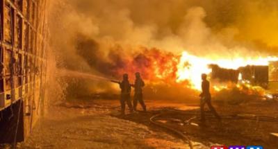 بالفيديو .. حريق صخم فى سوق الأعلاف بالسعودية