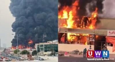 عاجل .. حريق ضخم في سوق شعبي بإمارة عجمان الإماراتية