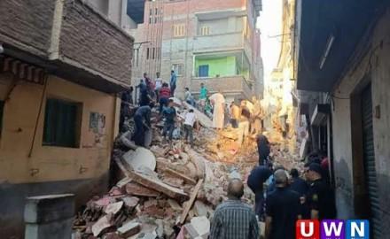 انهيار منزل من 4 طوابق بعد انفجار أنبوبة بوتاجاز بقرية شنوان (فيديو)