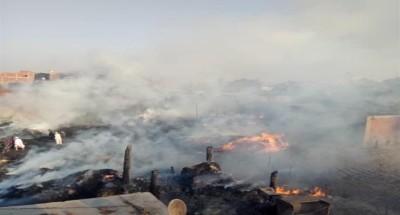 السيطرة على حريق هائل بقطعة أرض زراعية بمنطقة أوسيم