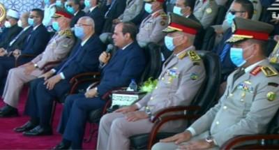"""السيسي:""""قوة الجيش ووعي المصريين يقفان سدا منيعا أمام أي معتدٍ"""""""