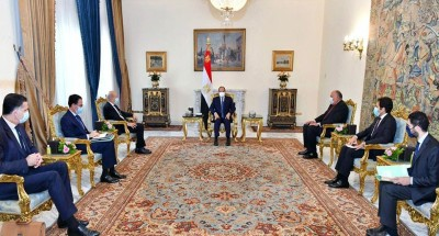 """الرئيس """"السيسي"""" يستقبل وزير الخارجية الفرنسي"""
