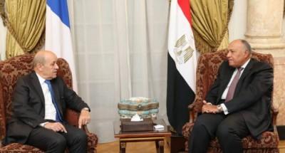 """""""شكري"""" و """"لورديان"""" يؤكدان عمق علاقات التعاون بين القاهرة وباريس"""