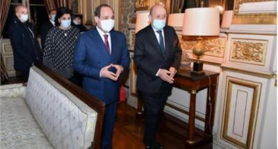 """الرئيس """"السيسي"""" يبحث مع """"وزير الخارجية الفرنسي"""" العلاقات الثنائية بين البلدين"""