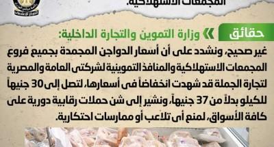 """""""وزارة التموين"""" تنفي شائعة ارتفاع أسعار الدواجن المجمدة في المجمعات الاستهلاكية"""