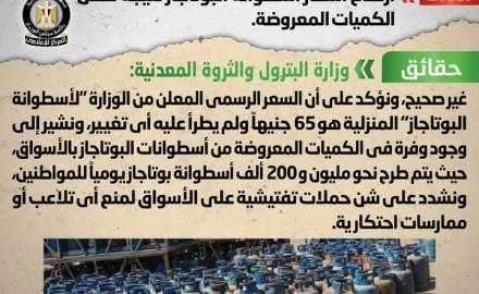 """""""مجلس الوزراء"""" ينفي شائعة ارتفاع أسعار أسطوانة البوتاجاز نتيجة نقص الكميات المعروضة"""