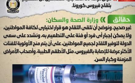 """""""مجلس الوزراء"""" ينفي شائعة فرض غرامة 10 آلاف جنيه للممتنعين عن التطعيم بلقاح فيروس كورونا"""