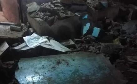 انهيار شرفة أحد المنازل ببلبيس فى الشرقية